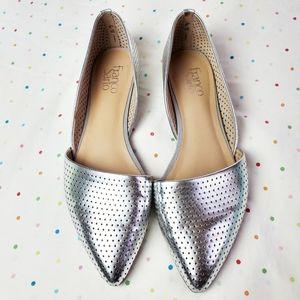 FRANCO SARTO Silver Metallic Pointed Flats 10